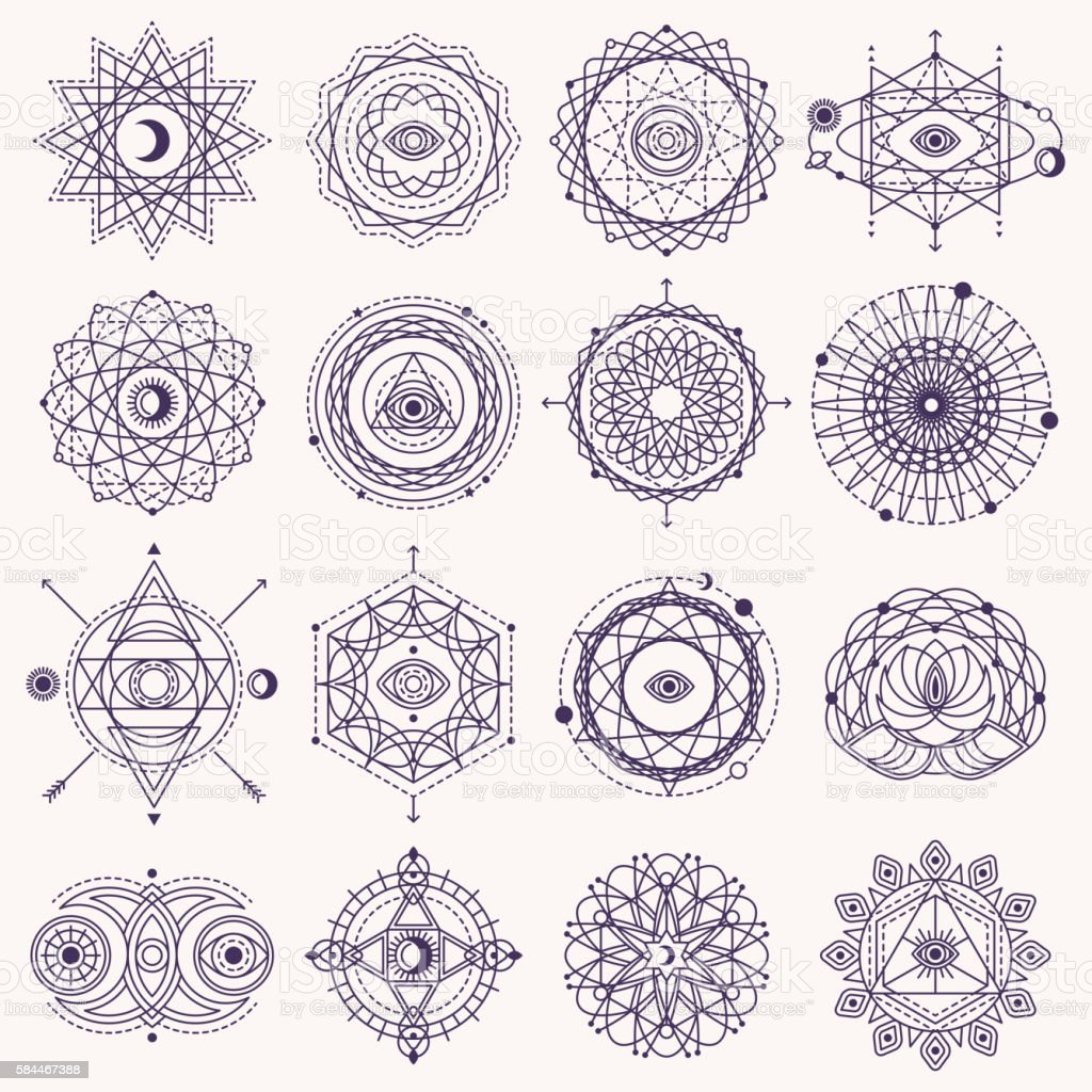 Set of Sacred Geometry Signs - ilustración de arte vectorial