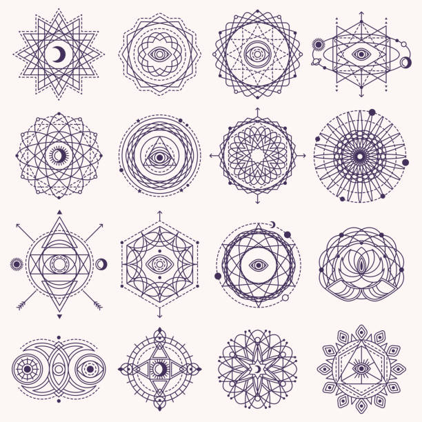 set of sacred geometry signs - freemasons stock illustrations