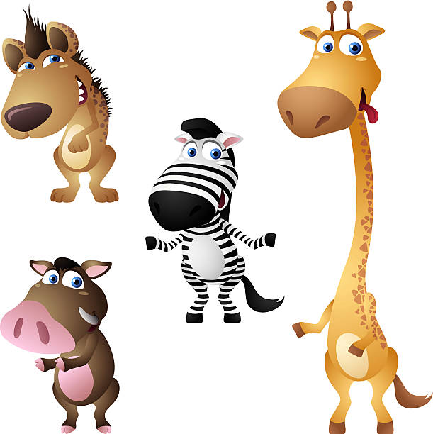 safari-tiere-set - giraffenhumor stock-grafiken, -clipart, -cartoons und -symbole