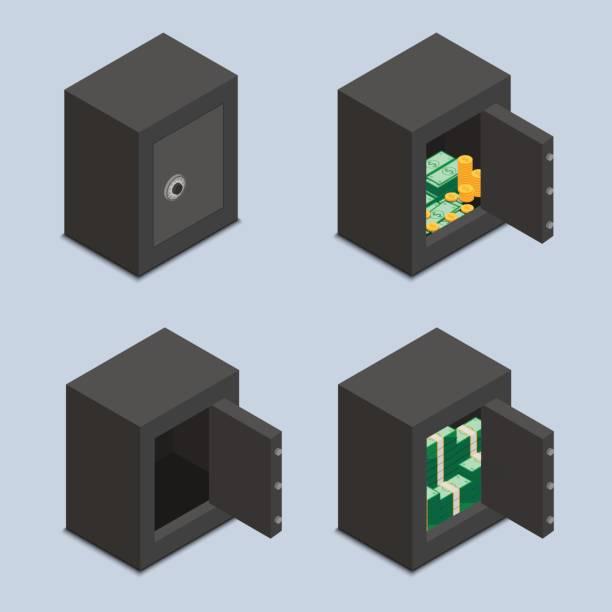 set von sicheren icons. offene und geschlossene - schließfachsachen stock-grafiken, -clipart, -cartoons und -symbole