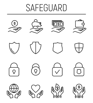 Set of safeguard icons in modern thin line style.