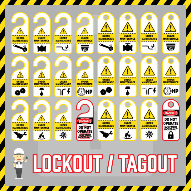 Set of safety caution labels and tags for world industrial lockout-tagout maintenance safety procedure. Set of safety caution labels and tags for world industrial lockout-tagout maintenance safety procedure. lockout stock illustrations