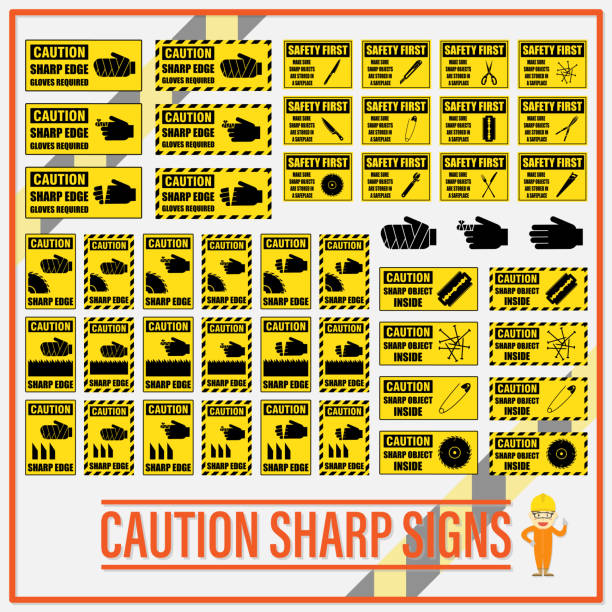 Set of safety caution sharp signs, Safety caution sharp labels for determining any object which has sharp edge or corner. Set of safety caution sharp signs, Safety caution sharp labels for determining any object which has sharp edge or corner. sharp stock illustrations
