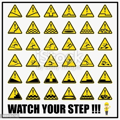 Set Of Safety Caution Signs And Symbols For Slips Trips And Falls