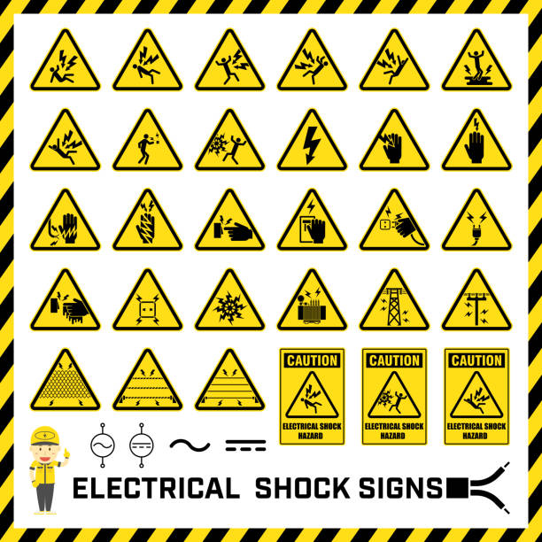 Set of safety caution signs and symbols of electrical shock hazards, Labels and signs for caution messages of electrical operations. Set of safety caution signs and symbols of electrical shock hazards, Labels and signs for caution messages of electrical operations. shock stock illustrations