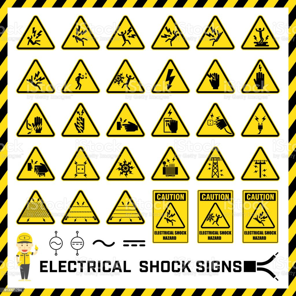 Electric Shock Symbol Icon On Black And White Vector Backgrounds