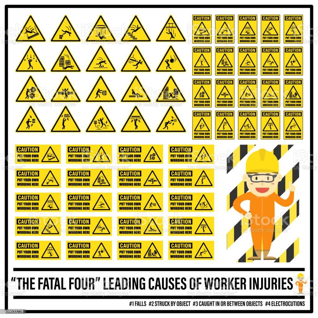 Satz von Sicherheit Vorsicht Zeichen und Symbole der tödliche Gefahren, setzen Ihre eigenen Wortlaut auf Sicherheit Vorsicht Zeichen, die tödlichen vier – Vektorgrafik