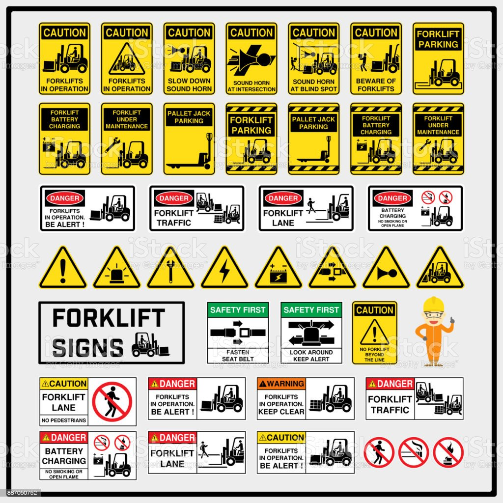 Set Of Safety Caution Signs And Symbols Of Forklift Operation