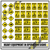 Set of safety caution signs and symbols of heavy equipment in operation for all construction site or heavy industrial services.