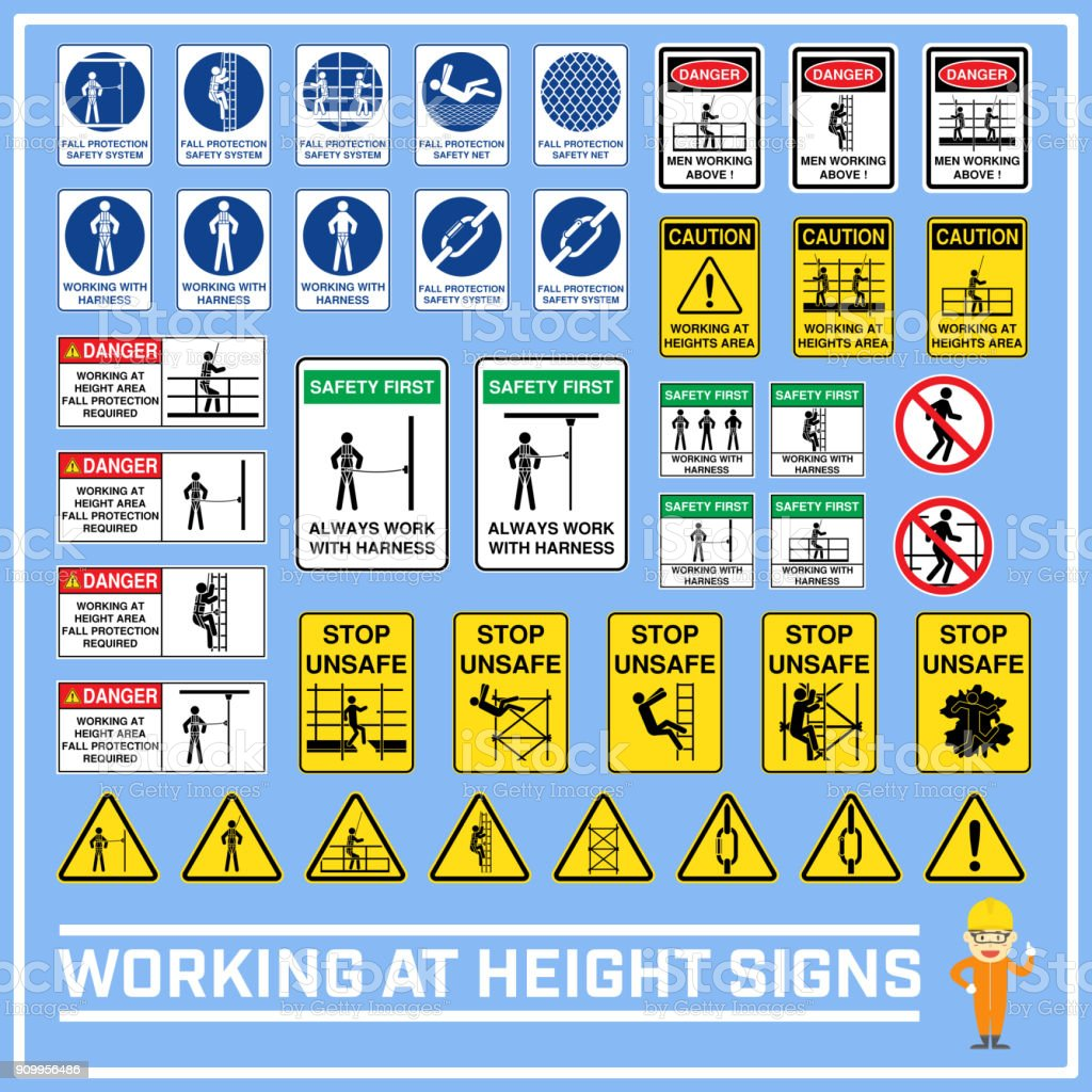 Set Of Safety Caution Signs And Symbols Of Working At Heights