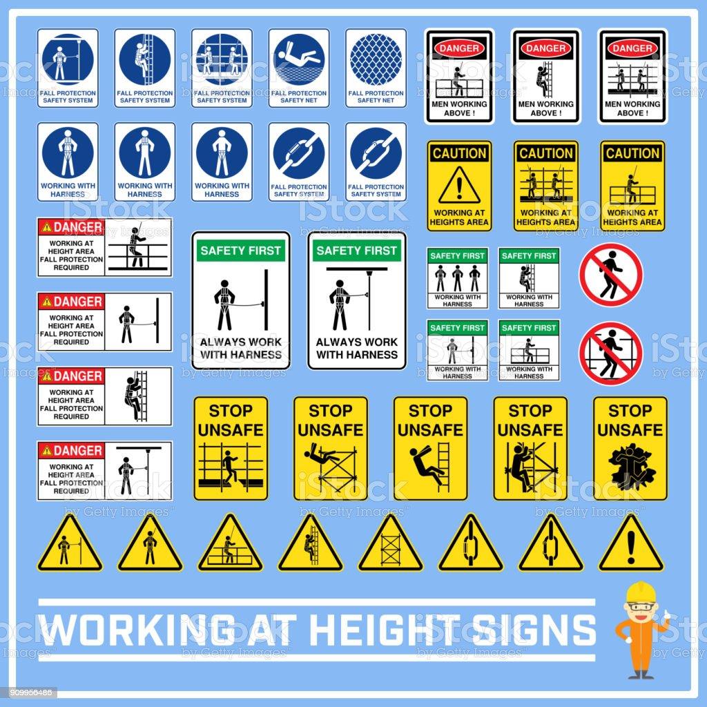 Sistema de advertencia de seguridad las señales y símbolos del trabajo en alturas, trabajo en altura de firma a utilizar en construcción en todo el mundo y servicios industriales - ilustración de arte vectorial
