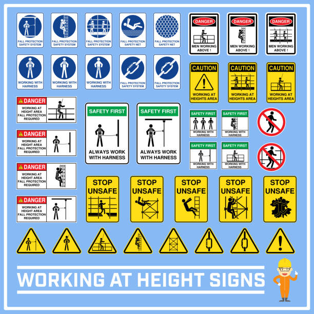 Set of safety caution signs and symbols of working at heights, Working at height signs to use in worldwide construction and industrial services Set of safety caution signs and symbols of working at heights, Working at height signs to use in worldwide construction and industrial services safety harness stock illustrations