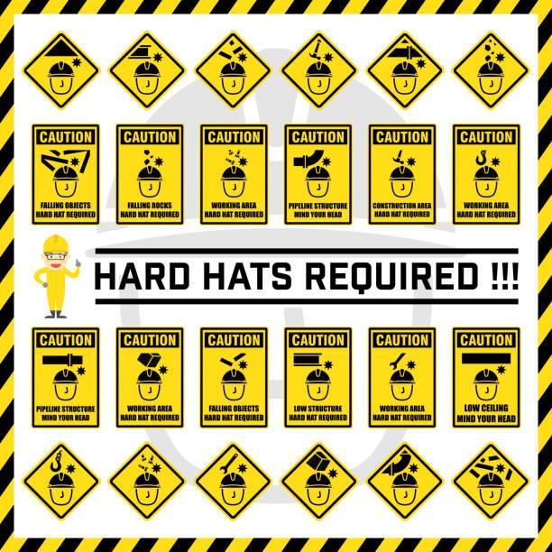 satz von vorsicht sicherheitszeichen und symbole verwenden, um arbeiter zu ihren kopf beachten erinnern. anzeichen für harte hüte, die in diesem bereich erforderlich. - fallrohr stock-grafiken, -clipart, -cartoons und -symbole