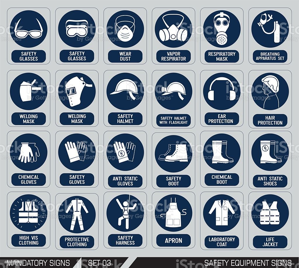 Set of safety equipment signs. vector art illustration
