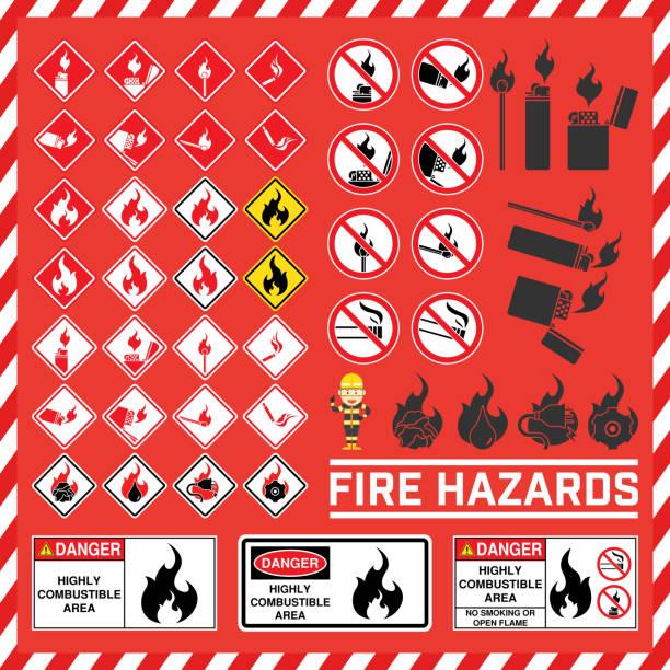 bildbanksillustrationer, clip art samt tecknat material och ikoner med uppsättning av säkerhetsskyltar och symbol för brandrisk, fire hazard varningsskyltar, högt brännbart område tecken - fire alarm