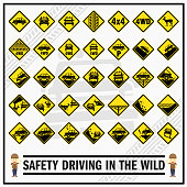 Set of safety signs and symbols for safety driving in the wild. Safety signs use to remind drivers to be aware while driving in the wild. 4WD offroad signs.