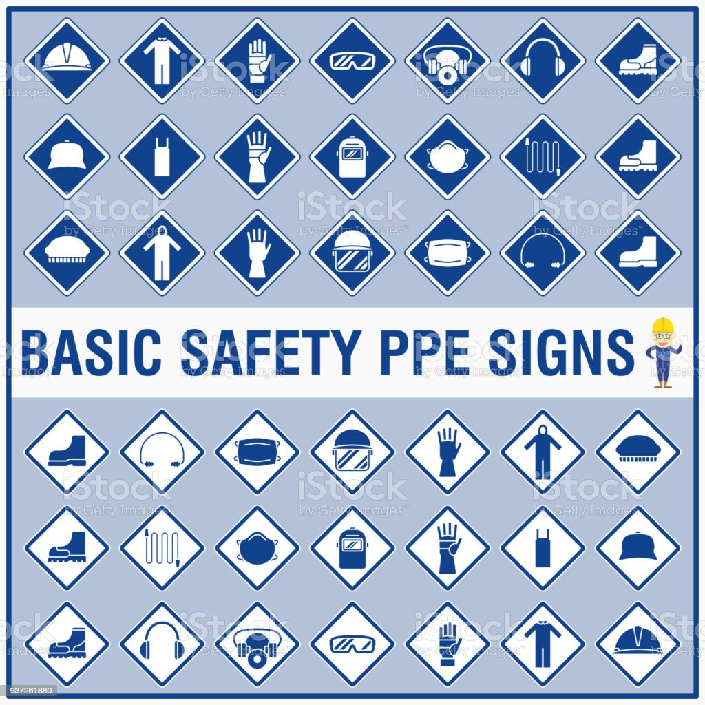 Set Of Safety Signs And Symbols For Warning And Remind All Workers