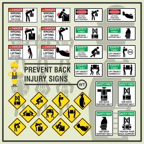 stockillustraties, clipart, cartoons en iconen met set veiligheidssignalering en symbolen van rugletsel preventie. veiligheidssignalering gebruiken om te herinneren van werknemers zich bewust zijn van hun rug veiligheid op de werkplek. - oppakken