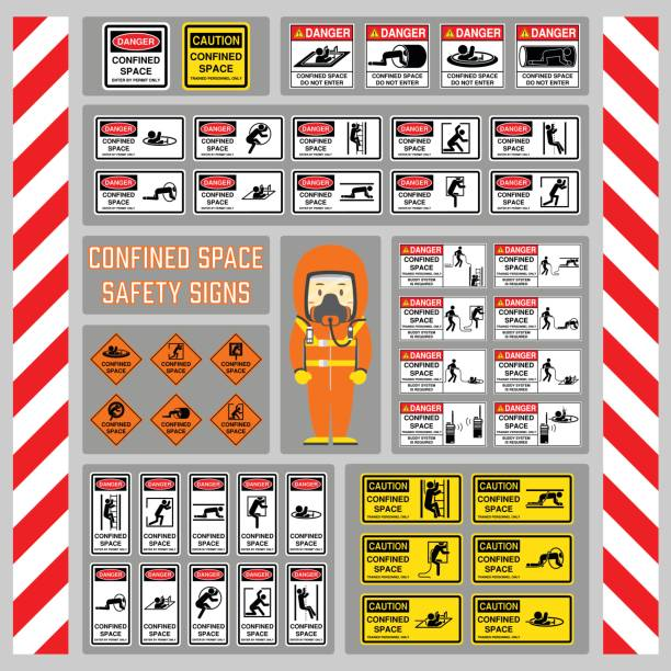 set of safety signs and symbols of confined space, signs and symbols for use as safety warning and regulation at confined space area, rope buddy system - zamknięty stock illustrations