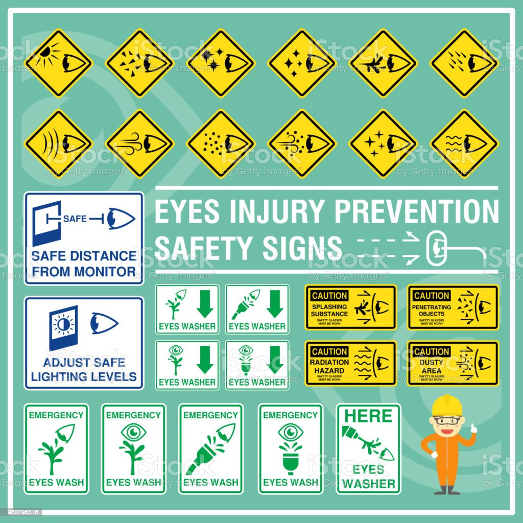 Set Of Safety Signs And Symbols Of Eyes Injury Prevention Safety