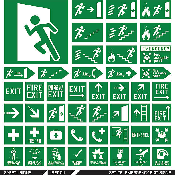Set of safety signs. Exit signs. Set of emergency exit signs. Collection of warning signs. Vector illustration. Signs of danger. Signs of alerts. escaping stock illustrations