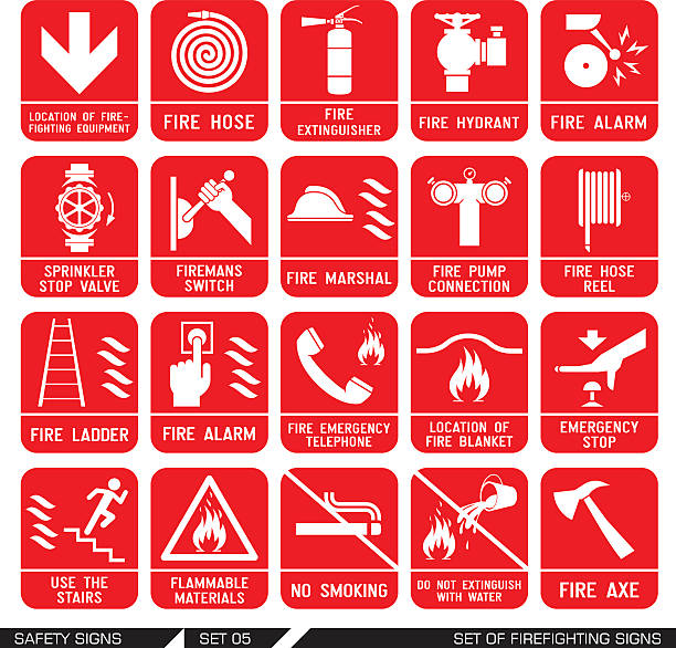 Set of safety signs. Firefighting icons. Set of firefighting signs. Collection of warning signs. Vector illustration. Signs of danger. Signs of alerts. Fire icons. fire hose stock illustrations
