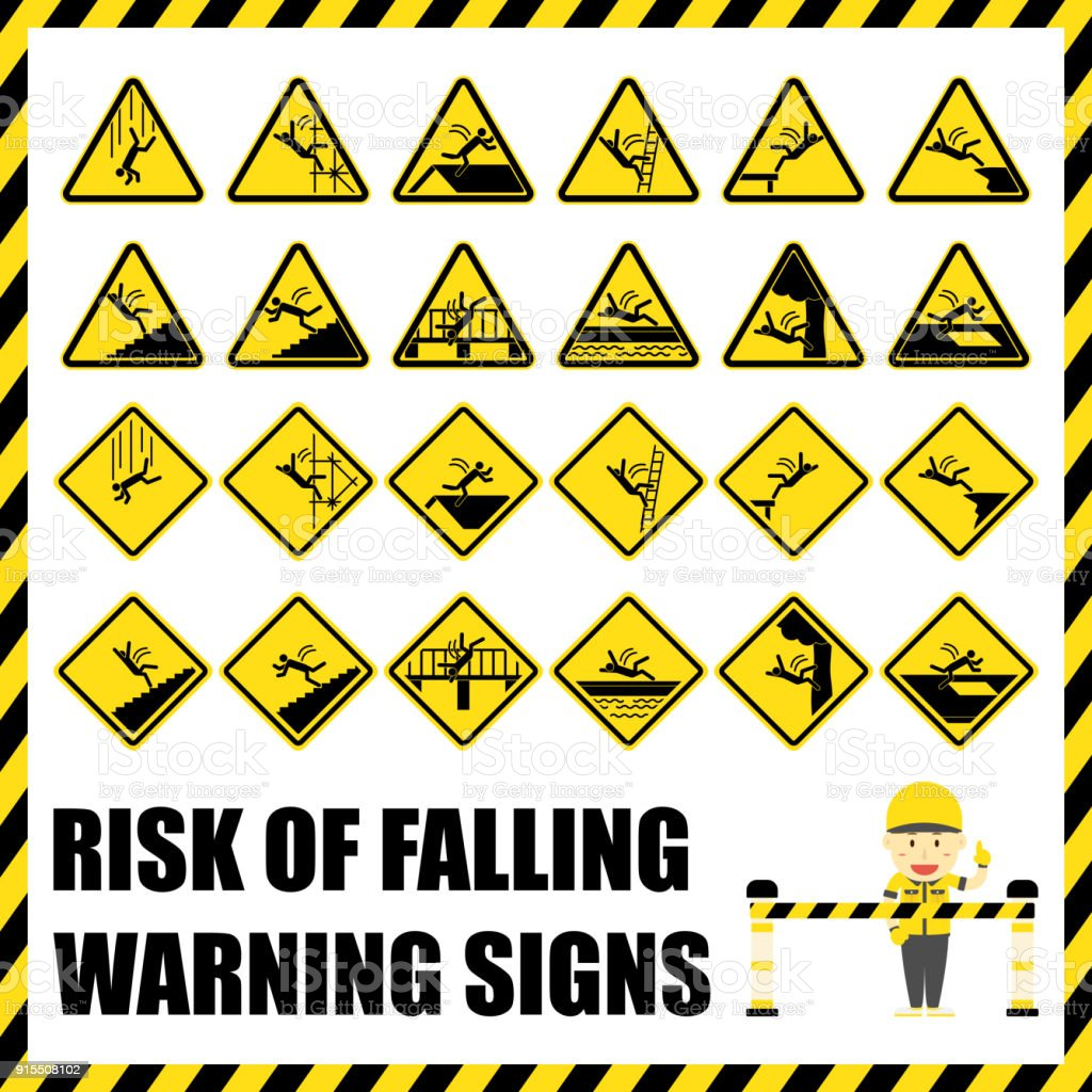Symbols for danger image collections symbol and sign ideas set of safety warning signs and symbols of the risk of falling set of safety warning biocorpaavc