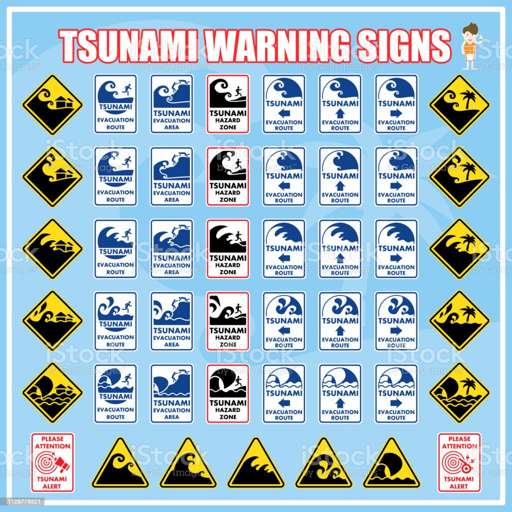 Set of safety warning signs and symbols of Tsunami disaster, Tsunami...