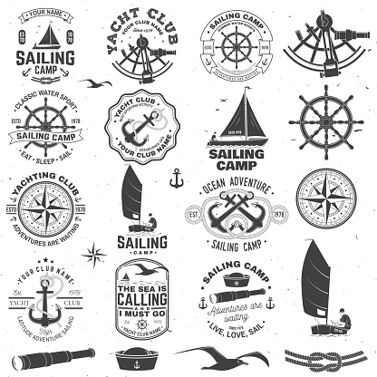 Set of sailing camp and yacht club badge. Vector. Concept for shirt, print or tee. Vintage typography design with black sea anchors, hand wheel, compass and sextant silhouette.