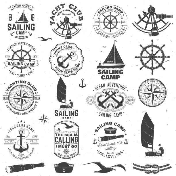 Set of sailing camp and yacht club badge. Vector. Concept for shirt, print or tee. Vintage typography design with black sea anchors, hand wheel, compass and sextant silhouette. Set of sailing camp and yacht club badge. Vector. Concept for shirt, print, stamp or tee. Vintage typography design with black sea anchors, hand wheel, compass and sextant silhouette. sailboat stock illustrations