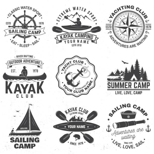 ilustrações de stock, clip art, desenhos animados e ícones de set of sailing camp, canoe and kayak club badges. vector. concept for shirt, print, stamp or tee. vintage typography design with mountain, river, kayaker silhouette. extreme water sport. - sextante