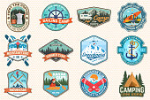 Set of sailing camp, canoe, snowboarding, climbing and kayak club patches. Vector illustration. Concept for shirt, print, stamp or tee. Outdoor adventure patches.