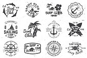 Set of sailing camp, yacht club and surf club badges. Vector. Concept for shirt, print, stamp or tee. Vintage typography design with surfboard and sailing boat silhouette. Extreme water sport.