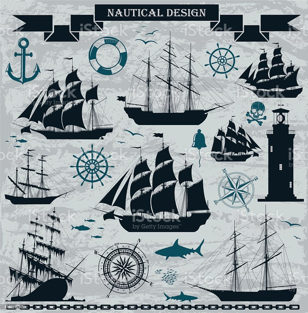 Set of sailing ships with nautical design elements. vector art illustration