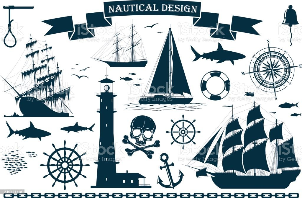 Set of sailing ships with nautical design elements vector art illustration