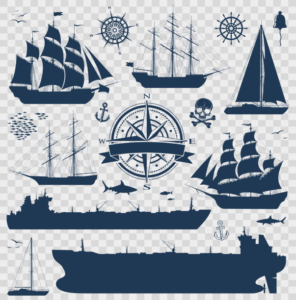 Set of sailing ships, yachts and tankers Set of fully rigged sailing ships, yachts and oil tankers silhouettes isolated on transparent background. Nautical design elements collection. Vector illustration pirate ship stock illustrations
