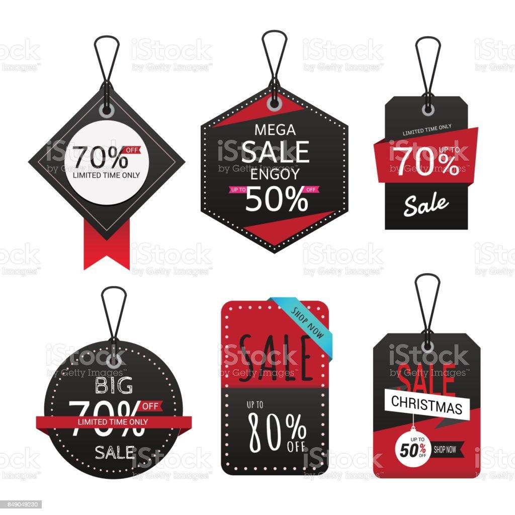 Groupe de bannière de vente. Étiquettes de vente. groupe de bannière de vente étiquettes de vente vecteurs libres de droits et plus d'images vectorielles de affaires libre de droits