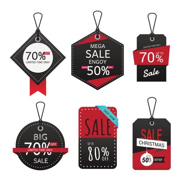 ilustrações, clipart, desenhos animados e ícones de conjunto de venda banner. venda rótulos. - tag