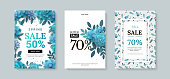 Set of sale banner with paper flowers on a white background. Vector illustration. Banner perfect for promotions, magazines, advertising, web sites.
