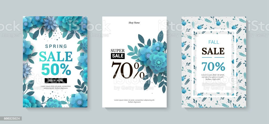 Set of sale banner with paper flowers on a white background. vector art illustration