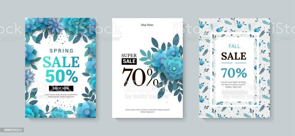 販売バナー白背景に紙の花とのセットです。 ベクターアートイラスト