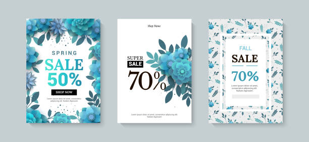 set of sale banner with paper flowers on a white background. - makeup fashion stock illustrations
