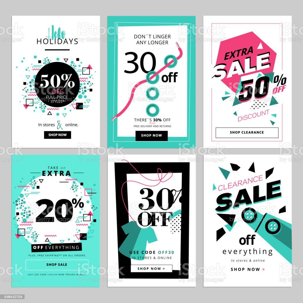 Set of sale banners for smartphone vector art illustration