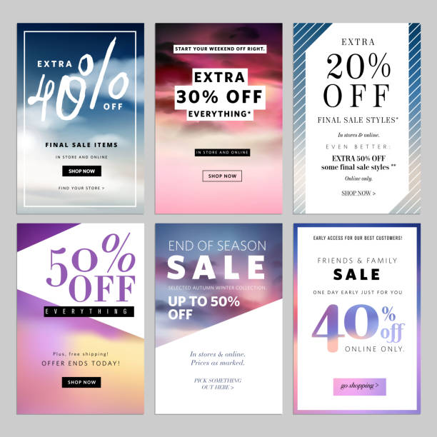 set of sale banners vector illustration for websites - email templates stock illustrations