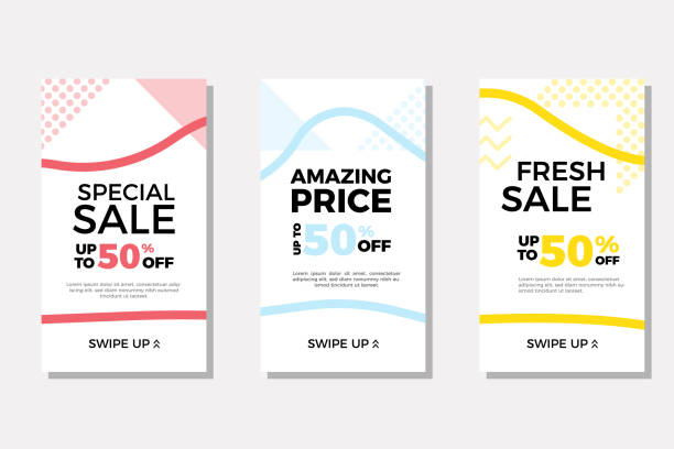 Set of sale banners with fluid geometric shapes perfect for instagram stories and other ads. Trendy modern vector template design with text for sales, discounts, promotions and other marketing strategies and advertisement Vector eps10 storytelling stock illustrations