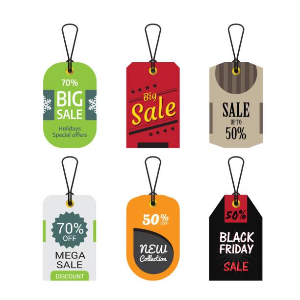 ilustrações, clipart, desenhos animados e ícones de conjunto de ilustração de banner.vector de venda - tag
