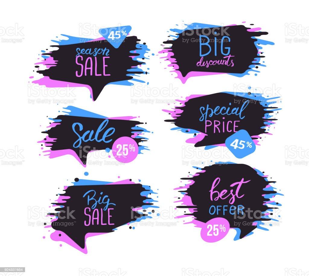 Satz Von Verkauf Entwurfsvorlage Mit Sprühfarbe Effekt Tinte ...
