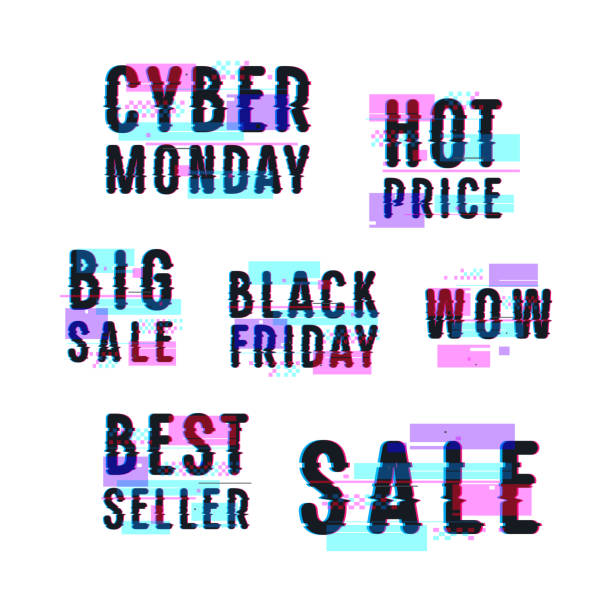 set of sale discount badges, labels, emblems - cyber monday stock illustrations