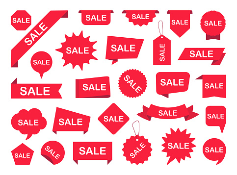 Set of sale label. Red ribbon banners. Sale tags for advertising. Sticker sale offer. New Label collection. Vector illustration.