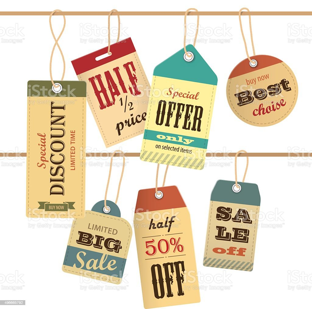 Set of sale tag on rope. Vector elements vector art illustration